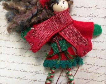 Acorn Fairy Doll goes Christmas Doll Ornament