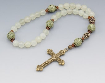 "Anglican Rosary - Serpentine ""Jade"" - Christian Prayer Beads - Pocket Rosary - Spiritual Gift - Item # 744"
