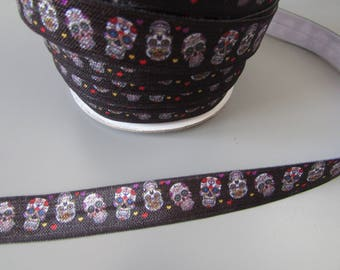 Black Sugar Skull Fold Over Elastic x 1 metre