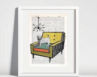 Mid Century Wall Art Prints,pug art print,dictionary page print,Mid Century chair art,retro art,quirky art prints,wall decor,home decor #170