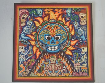 Great Grandfather Fire 24'' Huichol Indian Day of the Dead Yarn Painting by Luis Castro