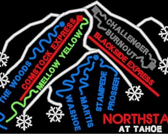 Northstar at Lake Tahoe  Ski Trail Map Embroidery Design File - multiple formats - instant download - BONUS - tips for making a cosmetic bag