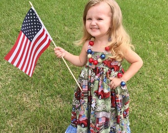 Toddler Sundress - Girls Patriotic Dress - Girls Ruffle Dress - Girls Lace Dress - Back to School Dress - Girls Red Dress