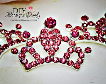 Super Bright Hot Pink Crystal Rhinestone Crown Flatback Flat Back Princess Embellishment Baby Headbands Supplies flower centers 30mm 666053