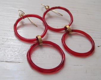 Vintage Faceted Red Glass Hoop Earrings