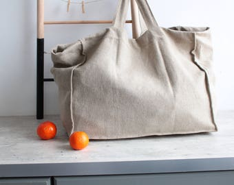 Shopper Bag, Reusable grocery bag, Linen Bag- Heavy Linen Market Bag- Linen Shopper Bag- Linen Tote Bag- Linen Shopping Tote , linen tote