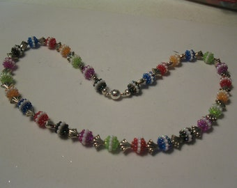 Girls Necklace multicolor bead and silver shell separaters