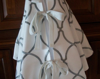 """52"""" White Linen with Metallic Silver Embroidery  Christmas Tree Skirt  2018 Collection"""