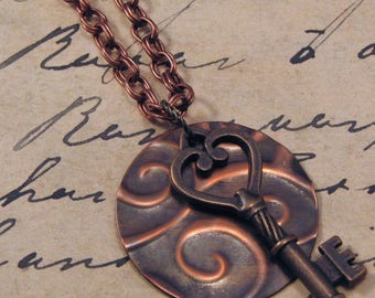 Steampunk Copper Swirl Pendant with Key, Embossed Copper Key Necklace, Steampunk Key Necklace, 30 Inch Copper Necklace, Key Pendant