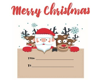printable Christmas card instant download