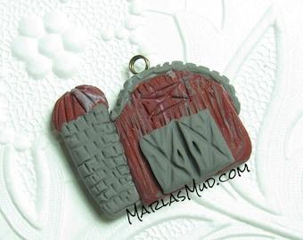 Polymer Pendant, Barn Pendant, Polymer Barn, Clay Pendant