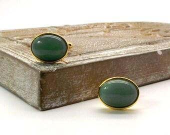 Green Aventurine Cufflinks II, Soft Green Cufflinks, Green Cufflinks