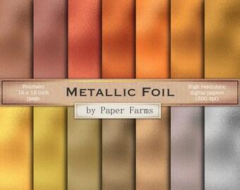 metallic foil digital paper, metallic foil scrapbook paper, metallic foil textures, gold, silver, rose gold, titanium, copper, DOWNLOAD