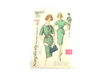 Sewing Pattern High Collar Pencil Skirt Dress 1960s Size XS