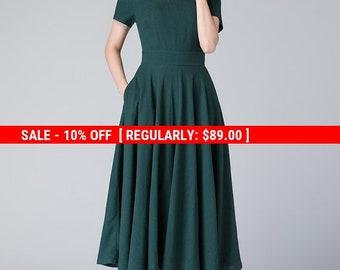 midi dress green, short sleeve dress, dress with pockets, summer dress, green evening dress, womens midi dress, linen dress, gift 1900