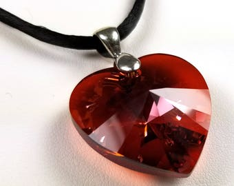 925 Sterling Silver Necklace with Large 28mm Swarovski® Crystal Red Heart #2162