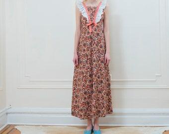 vintage pink floral maxi dress small medium | white cotton eyelet ruffle long dress | flower print cotton boho hippie dress | 1970s | 70s