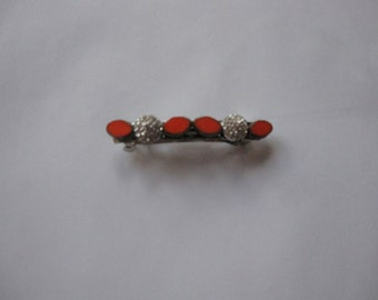 Orange Petal Silver Metal Crystal Spike French Barrette, for weddings, parties, special occasions