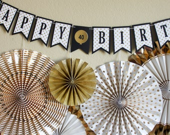 Aged to Perfection Birthday Banner / Black and Gold Banner / Milestone Birthday Banner / Birthday Banner