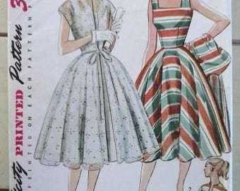 Simplicity Party Dress Pattern 3897, Vintage UNCUT 1950s Pattern with Redingote, Size 14