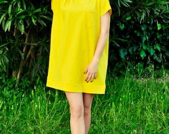 yellow/blue oversized pique retro  tunic