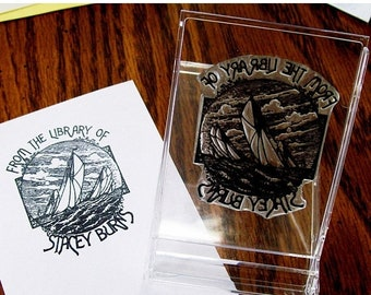 Mothers Day Sale Personalized Sailing Ex Libris Bookplate Rubber Stamp A02