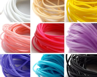 2mm PVC Tubing 3 Mtr length hollow rubber cord for jewellery making, hollow PVC tubing, rubber tubing - Choice of Colours hollow cord UK