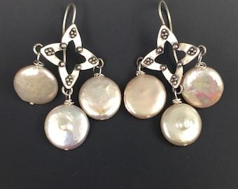 Fresh Water Pearl Sterling Silver Chandelier Earrings