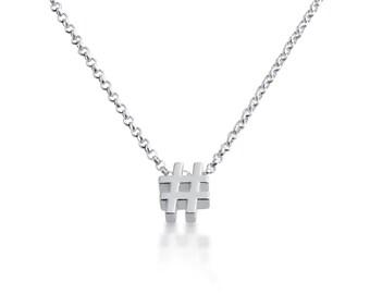 Hashtag ( # ) Symbol Serif Font Social Media Charm Pendant Necklace #925 Sterling Silver #Azaggi N0597S_#