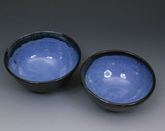 Set of Two Blue and Black Hand Thrown Bowls