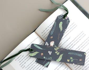 Black Nature Paper Bookmark with Green Velvet Ribbon