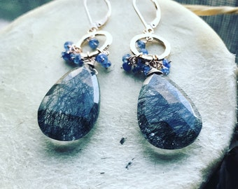 Blue sapphire and black ritulated quartz earrings 14k rose gold plated over silver