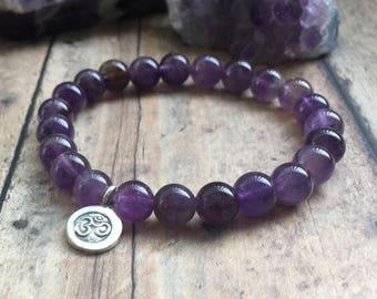 Amethyst Bracelet | Genuine Amethyst Beaded Bracelet | Yoga Bracelet | February Birthstone Bracelet | Anxiety Jewelry | Spiritual Bracelet