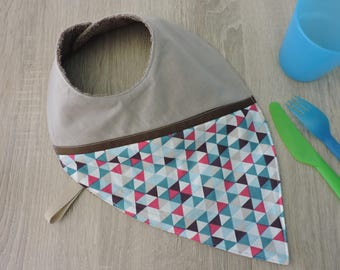 """geometric"" reversible bandana bib cotton Terry"