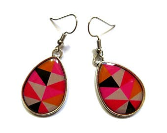 Teardrop Earrings - PINK TEARDROP earrings - geometric - colorful triangles