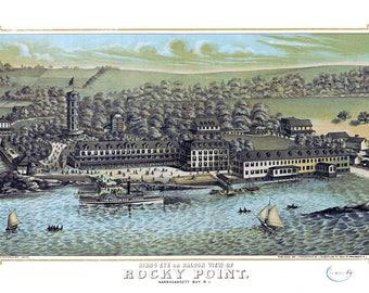 """1878 Rocky Point, Narragansett Bay, Rhode Island Map Art Print Poster 13"""" x 19"""""""