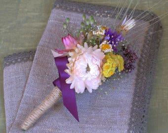 Dried flower Boutonniere Rustic wedding boutonniere Farmhouse wedding Organic Table decor