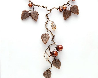 Brown Statement Necklace, Brown Leaf Necklace, Floral Necklace, Brown Fairy Jewerlry, Brown Nature Jewelry, Item N245