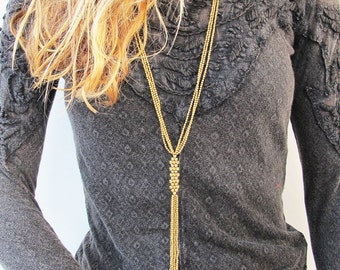 Long Gold Tassel Necklace,Tassel Necklace, Long Boho Necklace, Bohemian Necklace, Boho Necklace, Long Tassel Necklace, Boho Gift for sister