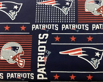 "NEW ENGLAND PATRIOTS nfl 60"" Cotton Fabric By The Yard All Over Patchwork Print Fabric Traditions"