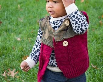 Crochet Vest//Toddler Crochet Vest//Camo Vest//Cable Knit Crochet Vest