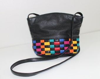 Vintage 80's Black Crossbody Bag