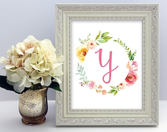 Baby Name Art, Initial and Monogram Art, Letter Y, Floral Watercolor, Printable Nursery Wall Art, Personalized Baby Gift, Baby Shower Gift
