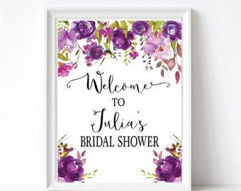 Purple Floral Bridal Shower Welcome Sign - Wedding Shower Welcome Sign - Bridal Shower Decor - Printable Sign