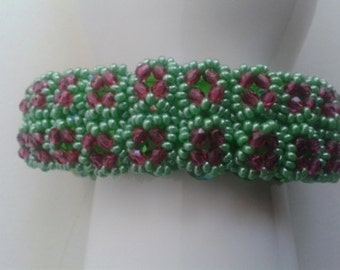 Beaded Bracelet Fuchsia Green
