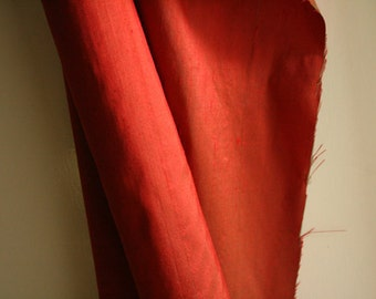 SILK FABRIC / RED / pure silk / dupion silk