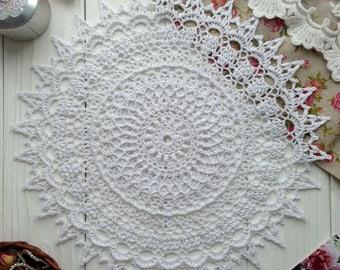 Hand crochet doily  Doily white Crochet round doily lace doily crochet tablecloth housewarming gift
