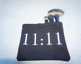 11:11 Makeup Bag / Zipper Pouch / Pencil Pouch / Custom Wording Available / Handmade by GAG THREADS