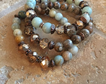 Amazonite & Fossil Jasper  Gemstone Beaded Stretch Bracelet Set - Bohemian Jewelry - Free Shipping