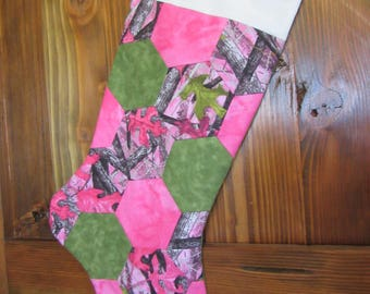 Quilted Christmas Stocking, Pink Camoflauge Stocking, Girl Stocking, Bright Pink Stocking, Outdoor Girl Stocking